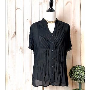 NY COLLECTION-Black Sheer Button-Down Blouse